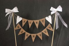 Just married wedding cake topper mini cake bunting with by SoLuvli