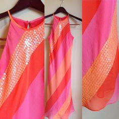 Pink Orange Diagonal Striped Sequin Dress