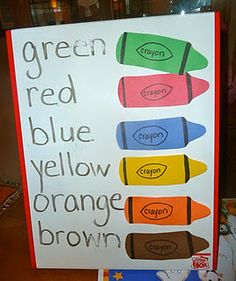 color sight words.  Could make a felt board version of this as a matching game.