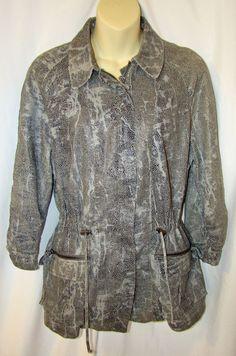CHICO's 2 Jacket Coat Longer Style Snake Skin Faux Print Zip SIZE 2 Drawstring  #Chicos #BasicJacket