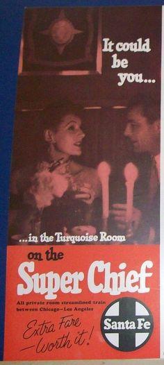 1954 Santa Fe Super Chief Turquoise Room Dining Ad.