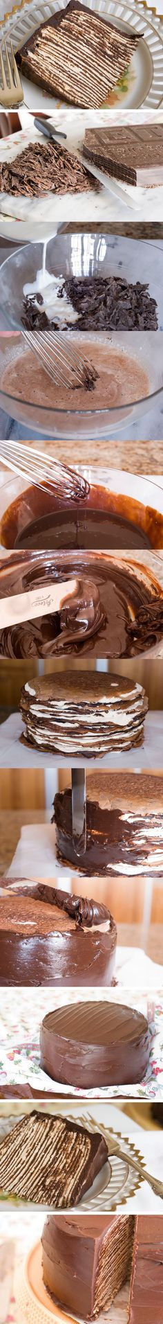 Tarta de crepes con chocolate - no recipe, but looks like all you need are some crepes and ganache Sweet Desserts, Just Desserts, Sweet Recipes, Delicious Desserts, Dessert Recipes, Yummy Food, Yummy Treats, Sweet Treats, Cupcake Cakes