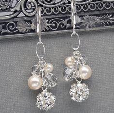 Pearl and Rhinestone Cluster Wedding Earrings by LizardiBridal, $36.00