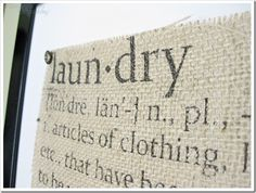 Run burlap {attached to freezer paper} through your printer ... how clever!