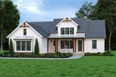 This modern farmhouse is simply beautiful! Country Style House Plans, Cottage House Plans, Cottage Homes, Modern Farmhouse Plans, Ranch Style Homes, Best House Plans, Large Homes, Smaller Homes, House Design