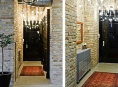 Rustic brick hall wall