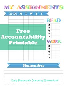 Free to-do list and accountability for home school kids. #homeschool #organization #scheduling