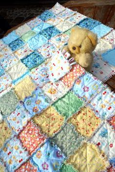 Two raggy baby quilts and a taggy