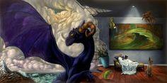 purple dragon by Shay Davis #abstract #surrealism