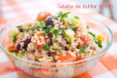 Salata de bulgur si ton Fried Rice, My Recipes, Potato Salad, Fries, Potatoes, Ethnic Recipes, Hue, Bulgur, Salads