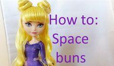 Doll Hair Tutorial: Space Buns on Ever After High Dolls by EahBoy - Diy Doll Hair Ever After High, Monster High Clothes, Monster High Dolls, Barbie Hairstyle, Doll Hairstyles, Doll Hair Detangler, Fix Doll Hair, Hair Yarn, High Hair