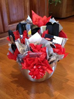 "Bridal Shower Gift idea. I made this ""bouquet"" of kitchen utensils for a shower gift using the wedding colors for inspiration."