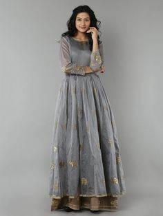 Grey Elephant Printed Chanderi Anarkali with Beige Cotton Palazzo - Set of 2 New Dress Design Indian, Indian Designer Wear, Indian Attire, Indian Ethnic Wear, Indian Dresses, Indian Outfits, Anarkali Dress, India Fashion, Women's Fashion