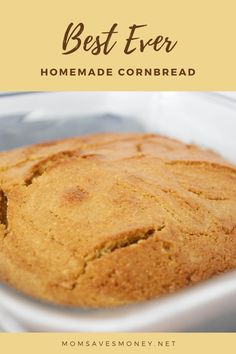 How to make the best EVER homemade cornbread with just 9 simple ingredients - cornmeal, flour, white and brown sugar, eggs, milk, baking soda and salt. This easy, slightly sweet Southern style cornbread is addictive and the perfect side dish for chili. Try this delicous recipe today. Best Cornbread Recipe, Tasty Bread Recipe, Homemade Cornbread, Bread Recipes, Snack Recipes, Recipe For Mom, Recipe Today, Cornmeal Flour, Sugar Eggs