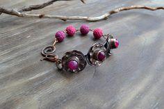 Copper handmade bracelet flowers fuchsia by TanyaKolyada on Etsy
