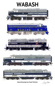 Wabash Locomotives Railroad Poster by Andy Fletcher signed Train Drawing, Electric Train Sets, Train Posters, Rail Transport, Railroad History, Bonde, Train Times, Train Art, Train Pictures