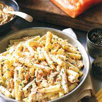 Ziti with Honey Mustard Salmon - Pasta Recipes - Fish Recipes - Roast Salmon Recipes - Delish