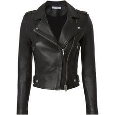 Dylan Black Leather Cropped Moto Jacket (€1.095) ❤ liked on Polyvore featuring outerwear, jackets, coats, coats & jackets, black, rider leather jacket, cropped leather jacket, motorcycle jacket, genuine leather jackets and leather jackets