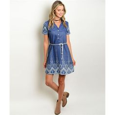 Women's Dress White And Blue Denim Embroidered Detail Dress