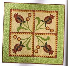 """Pomegrantes  quilt by Pat Sloan in """"Pat Sloan's Favorite Techniques"""" book"""