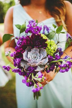 Hand Tied Wedding Bouquet Comprised Of: Succulents, Purple Dahlias, Grape Purple Stock, Green Hydrangea + Green Foliage