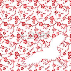 japanese crane: Japanese cherry blossom pattern background with flying crane