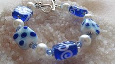 Blue and White Lampwork Bead Sqaures with Crystals Bracelet | SisterJewelry - Jewelry on ArtFire
