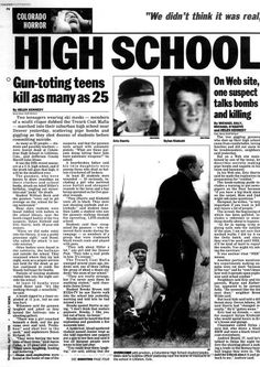 Two gunman opened fire inside Columbine High School in Colorado killing 13 before committing suicide on April 20, 1999. Paper published April 21, 1999.