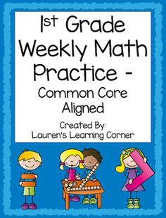 This set includes 40 math practice activities  enough to use 1 each week of the school year! The activities are aligned to the skills and concepts addressed in the 1st grade math common core learning standards. The activities can be used as an assessment, review, independent practice, group work, morning work, or to reteach or extend skills depending on students ability levels.