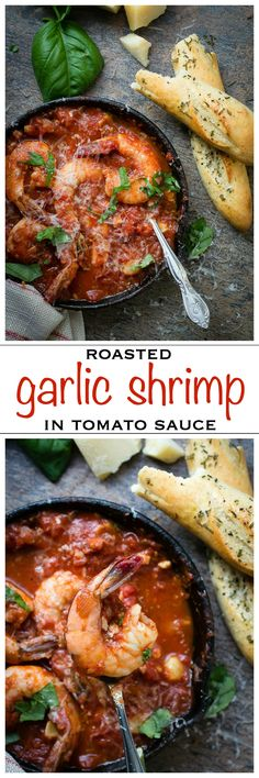 A rich tomato sauce with roasted garlic, Pancetta and juicy shrimp | Foodness Gracious