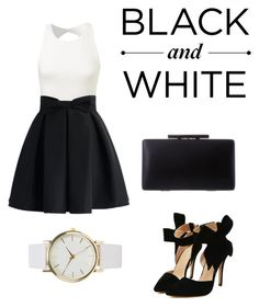 """Black&White"" by alva-hillborg ❤ liked on Polyvore featuring Chicwish, NLY Accessories, women's clothing, women, female, woman, misses and juniors"