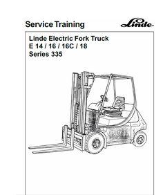 Linde Electric Forklift Truck E-Series Type Workshop Service ManualOriginal Illustrated Factory Workshop Service Manual for Linde Ele Truck Covers, Planetary Gear, Analog Signal, Safety Valve, Power Unit, Relief Valve, Brake Fluid
