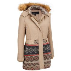 Black Rivet FauxFur Hooded Walker w/ Wool Bottom ($200) ❤ liked on Polyvore featuring outerwear, jackets, coats, hooded quilted jacket, quilted jacket, wool jacket, hooded jacket and faux fur hood jacket