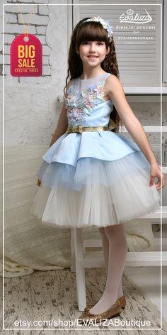tutu dress, girl dress, flower girls dress, blue dress, dress to order, princess dress,