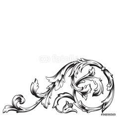 Vintage baroque frame scroll ornament engraving border floral retro pattern antique style acanthus foliage swirl decorative design element filigree calligraphy vector | damask