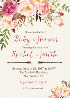 Girl Baby Shower Invitation, Boho Baby Shower Invitation, Baby Shower Invitation, Baby Girl Invitation, Floral Baby Shower Invitation • • • • • • • • • • • • • WHAT YOU GET • • • • • • • • • • • • • ♥ A high resolution jpg or pdf that will be customized with your information. ♥ An 8x11 2 invitations per page for economical printing. ♥ An 8x11 with (5) 3 Matching Books for Baby Cards. • • Current turnaround time is 24-48 hours • • • • Rush service available, ready in 12 hours or less • •…