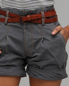 Charcoal shorts with a warm brown leather belt.