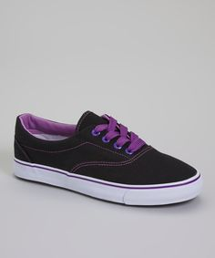 Look at this Ositos Shoes Black & Purple Short Lace Sneaker on #zulily today!