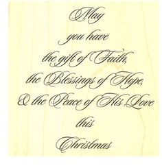 "{Single Count} Unique & Custom (3 1/4"" Inches) ""Faith, Hope, & Peace Christmas Holiday Quote"" Square Shaped Genuine Wood Mounted Rubber Inking Stamp"