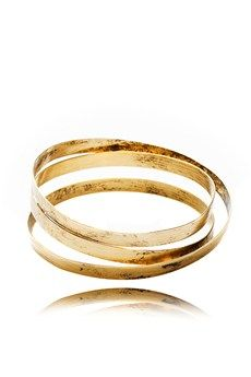 BY THE STONES TEXTURED Gold Small Wire Bangle
