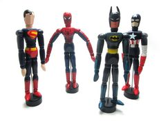 Superhero inspired wooden dolls , Spiderman , Superman , Batman , Captain… Batman Art, Superman, Artist Mannequin, Steam Art, Doll Drawing, Wooden Man, Doll Painting, Wooden Dolls, Drawing People