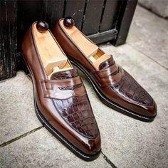 Men's Color Design Slip on Shoes Casual Leather Shoes, Leather Brogues, Leather Slip On Shoes, Soft Leather, Cowhide Leather, Real Leather, Patent Leather, Brown Leather, Women's Shoes
