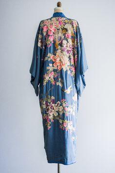 [SOLD] Antique Blue Silk Kimono Robe with Colorful Embroidery | G O S S A M E R