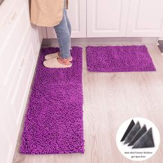 The chenille fabric microfiber rug is super soft and dries quickly, use for Kitchen or bathroom is designed to quickly absorb water, keeping your floors dry and clean Purple Kitchen Accessories, Chenille Fabric, Floors, New Homes, Bathroom, Rugs, Water, Design, Home Decor