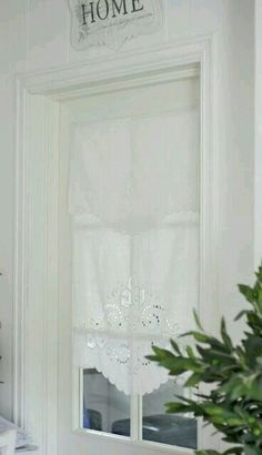 cut out white linen runner folded over rod to create shade, No sewing Lace Curtains, Curtains With Blinds, Valances, House Windows, Windows And Doors, Cottage Living, Cottage Style, White Cottage, Linens And Lace