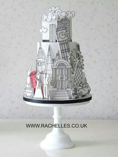 Black and white city scape line art wedding cake