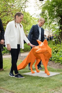 Princess Ingrid Alexandra of Norway and Prince Sverre Magnus of Norway attend the Opening of The Princess Ingrid Alexandra Sculpture Park on May 19, 2016 in Oslo, Norway.