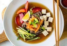 Korean Chilled Buckwheat Noodles With Chilled Broth and Kimchi Recipe