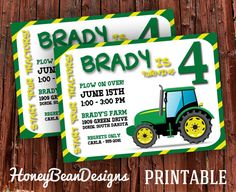 printable tractor birthday party invitation john deere green tractor plow - John Deere Party Invitations