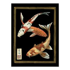 Great Big Canvas 'Koi Fish on Black I' Chariklia Zarris Graphic Art Print Format: White Frame, Size: H x W x D My Canvas, Canvas Wall Art, Japanese Koi, Japanese Dragon, Goldfish, Custom Posters, Black Backgrounds, Giclee Print, Graphic Art